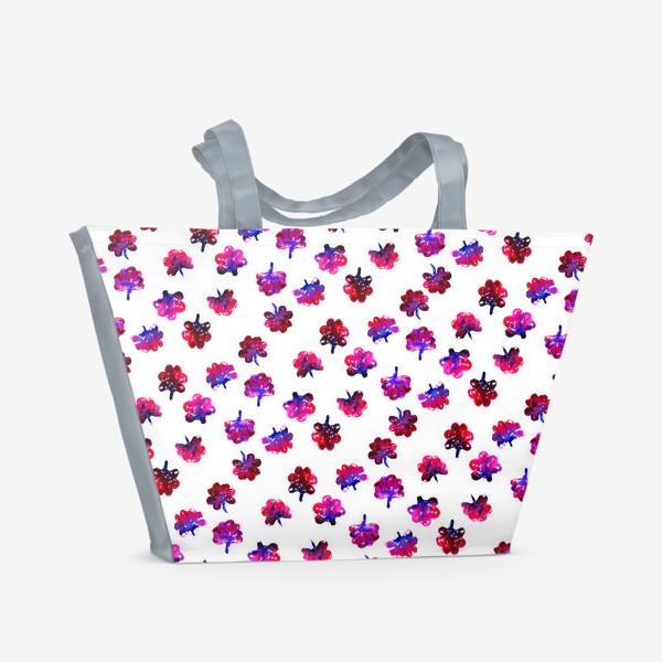 Пляжная сумка «Красные цветочки»