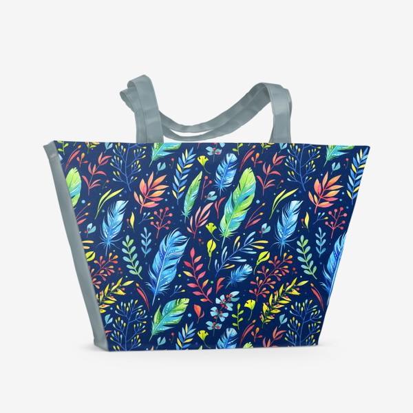 Пляжная сумка «Веточки и перья»
