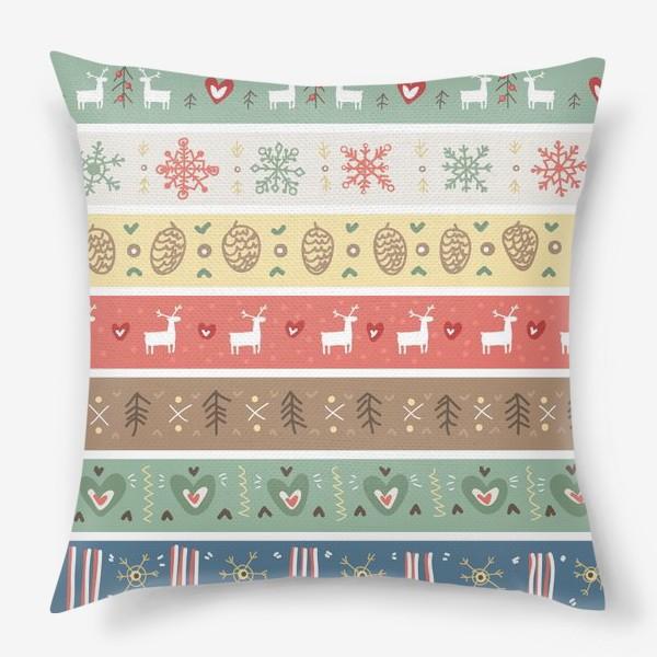 Подушка «Рождественский орнамент с оленями, шишками, елками и сердечками.»