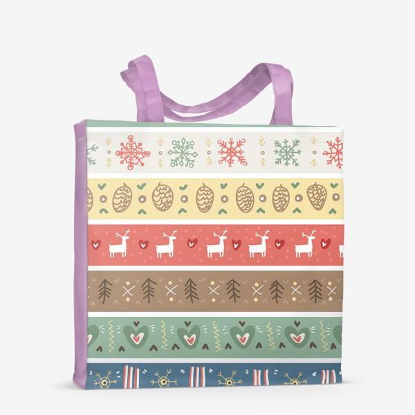 Сумка-шоппер «Рождественский орнамент с оленями, шишками, елками и сердечками.»