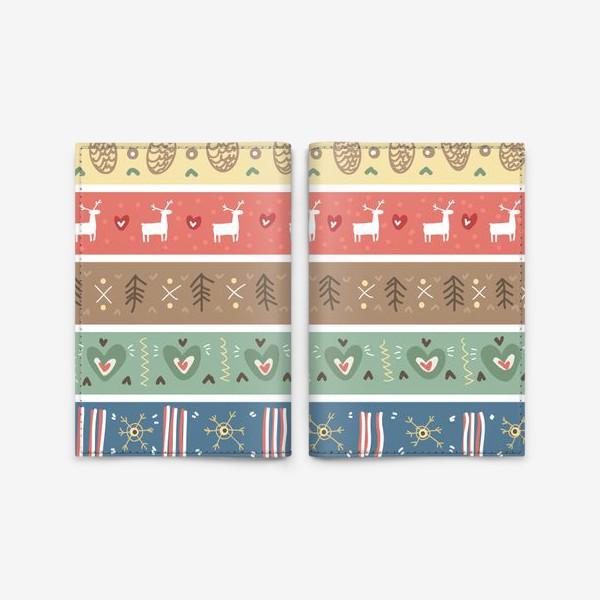 Обложка для паспорта «Рождественский орнамент с оленями, шишками, елками и сердечками.»