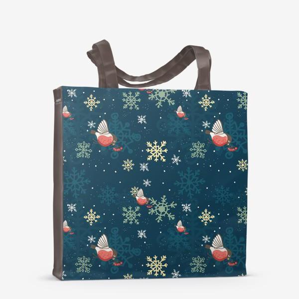 Сумка-шоппер «Рождественский узор со снежинками и птичками»