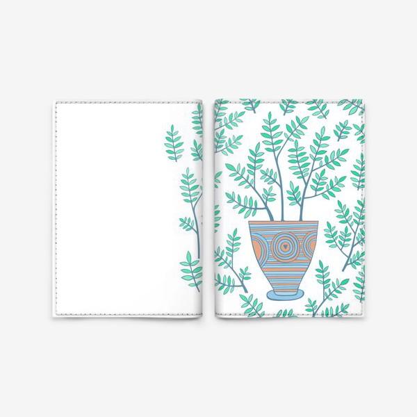 Обложка для паспорта «цветок в горшке»
