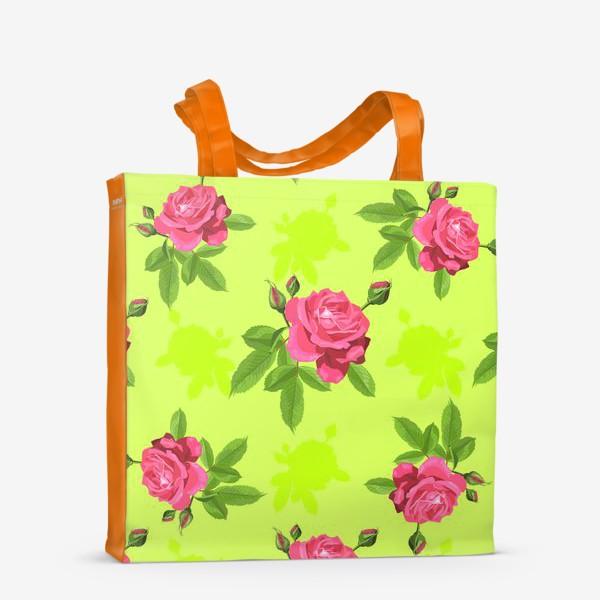 Сумка-шоппер «Яркий паттерн с розами на салатовом фоне.»