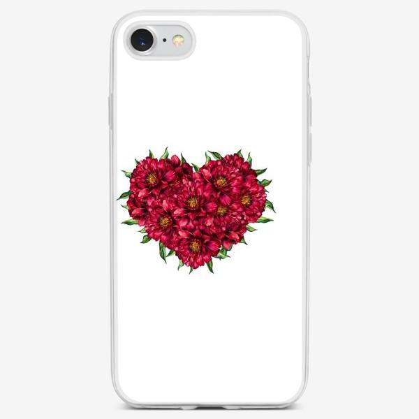 Чехол iPhone «Сердце из пионов 4 (Heart of peonies)»