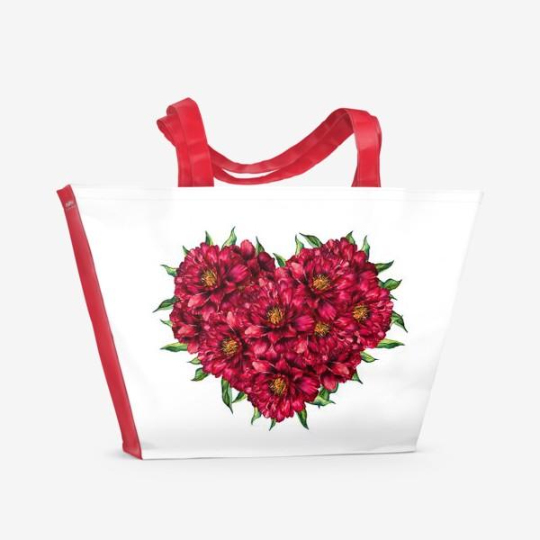 Пляжная сумка «Сердце из пионов 4 (Heart of peonies)»