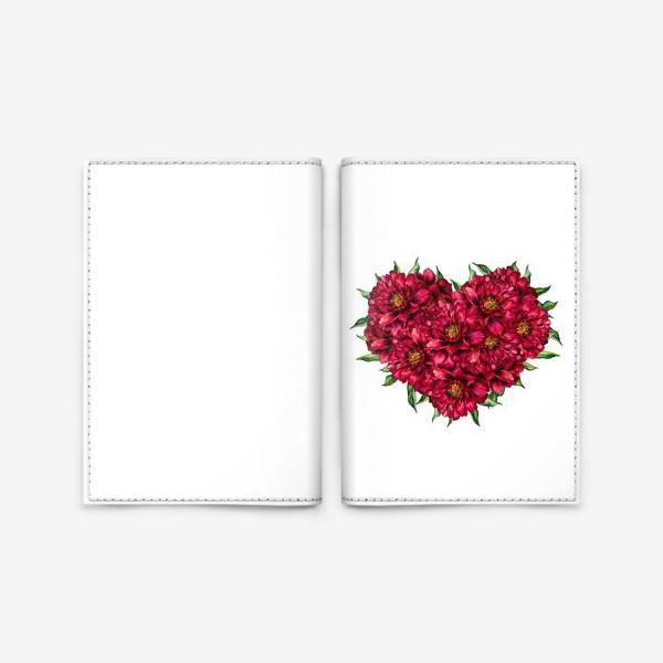 Обложка для паспорта «Сердце из пионов 4 (Heart of peonies)»