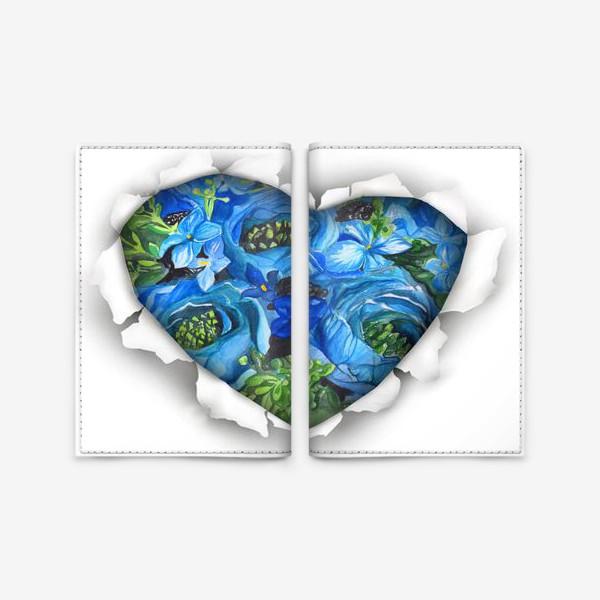 Обложка для паспорта «Сердце голубых цветов»