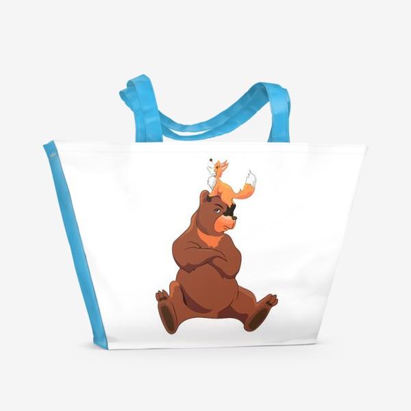 Пляжная сумка «Медведь и лиса»