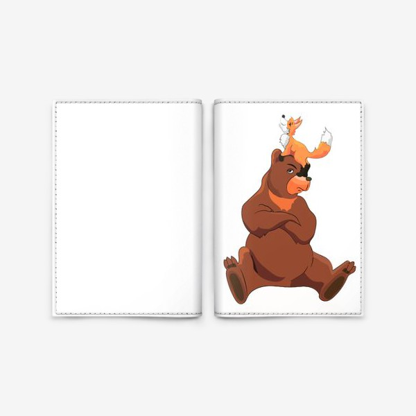 Обложка для паспорта «Медведь и лиса»