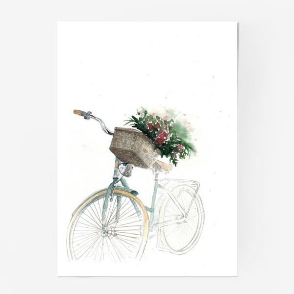 Постер «Акварельный велосипед с корзинкой и цветами»