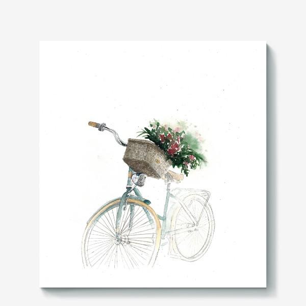 Холст «Акварельный велосипед с корзинкой и цветами»