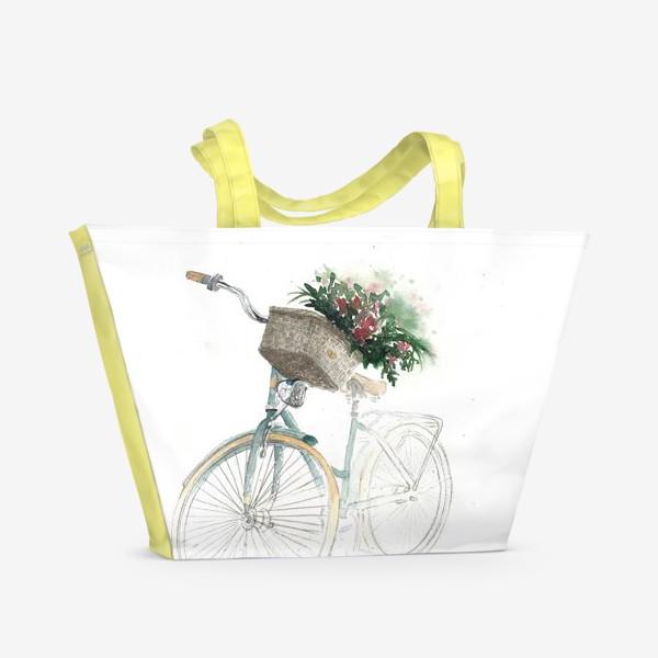 Пляжная сумка «Акварельный велосипед с корзинкой и цветами»