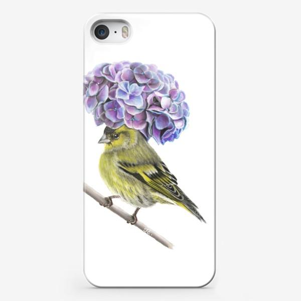 Чехол iPhone «Пташка в шляпке. Чиж»