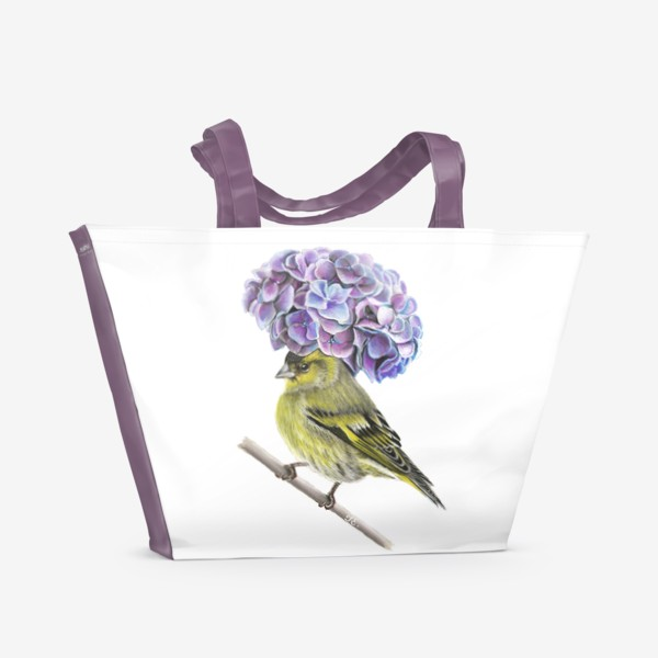 Пляжная сумка «Пташка в шляпке. Чиж»