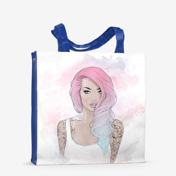 """Сумка-шоппер «Девушка """"Pink hair""""»"""