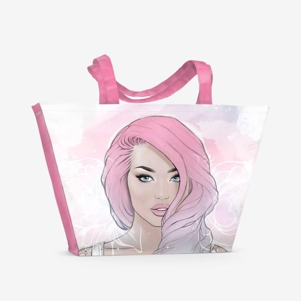 """Пляжная сумка «Девушка """"Pink hair""""»"""