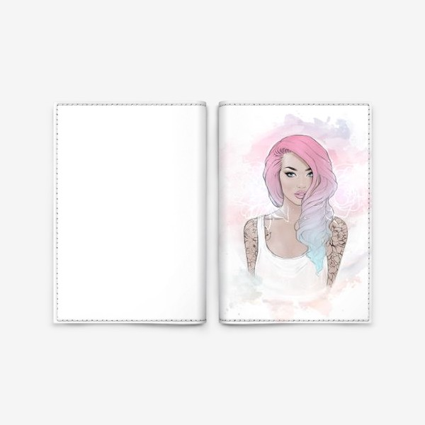 """Обложка для паспорта «Девушка """"Pink hair""""»"""