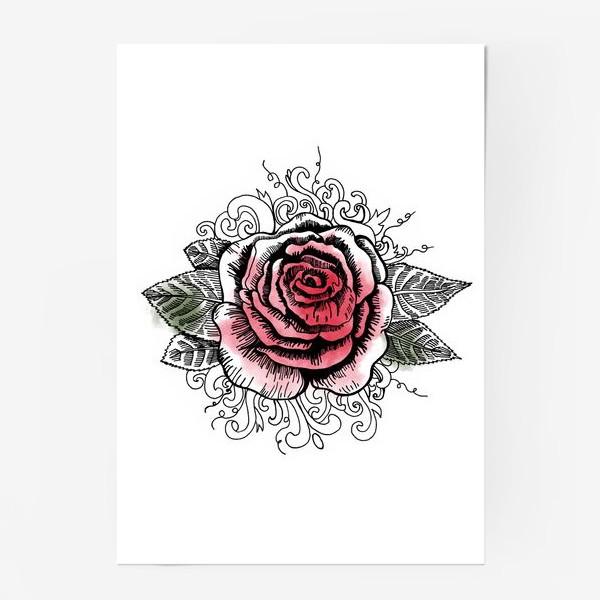 Постер «Роза в графике»