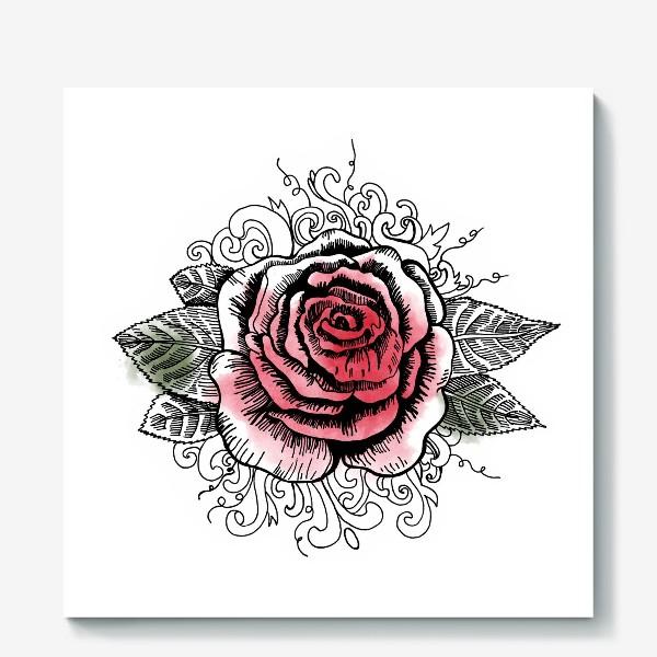 Холст «Роза в графике»