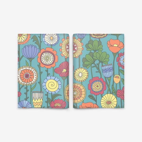 Обложка для паспорта «Дудлоцветочки»