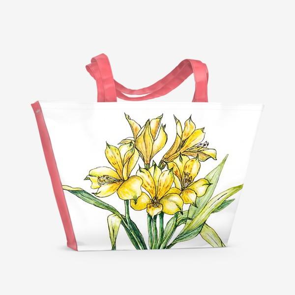 Пляжная сумка «Альстромерия - лилия инков»
