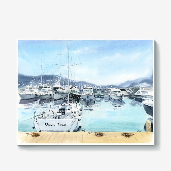 Холст «Пейзаж с яхтами в море. Черногория»