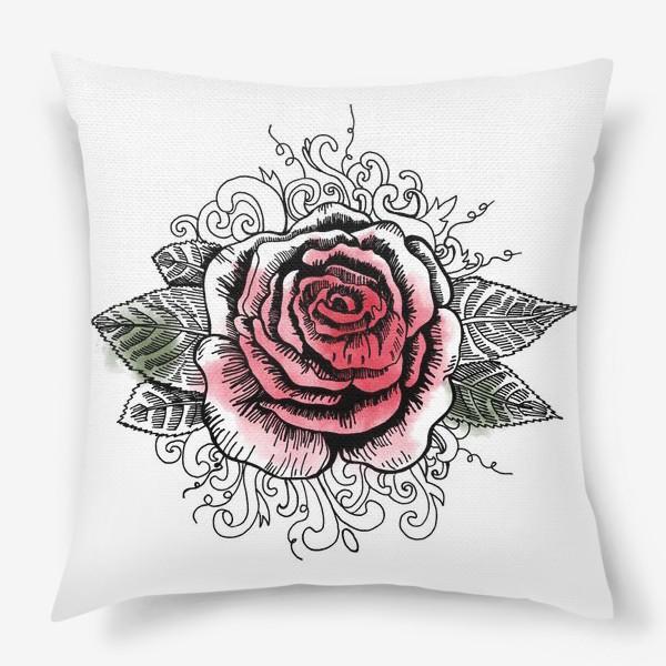 Подушка «Роза в графике»