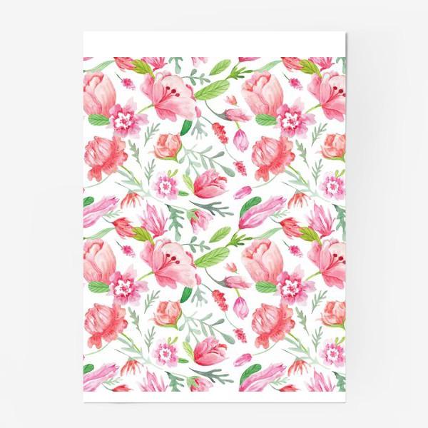 Постер «Акварельные весенние цветочные узоры»