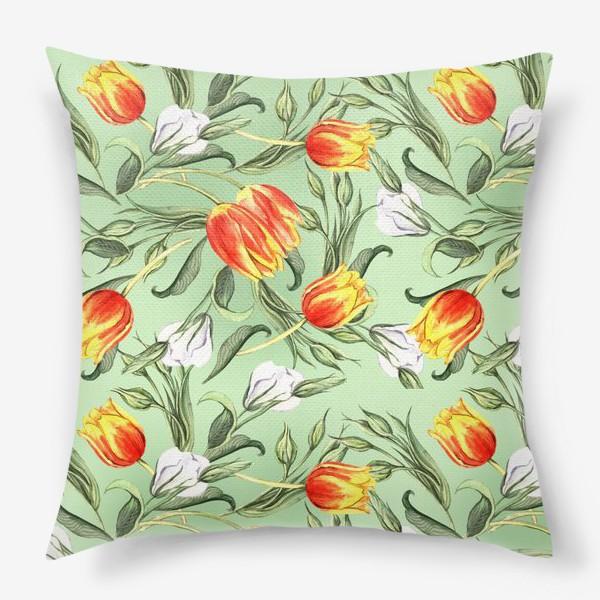 Подушка «Паттерн с весенними цветами»