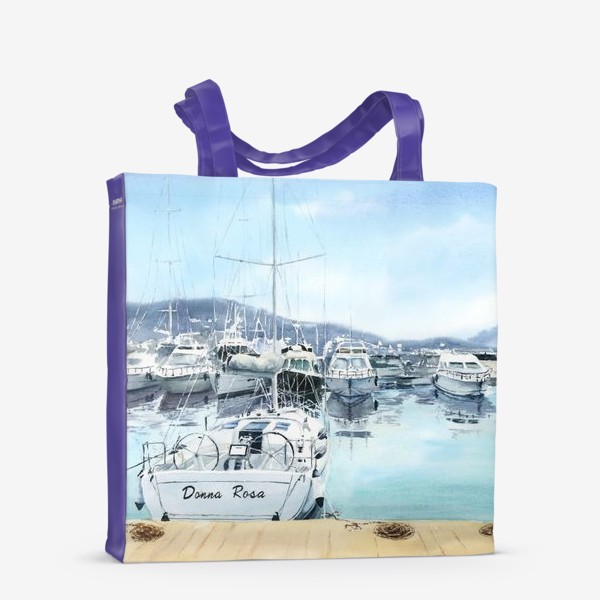 Сумка-шоппер «Пейзаж с яхтами в море. Черногория»