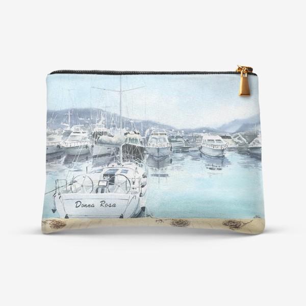 Косметичка «Пейзаж с яхтами в море. Черногория»