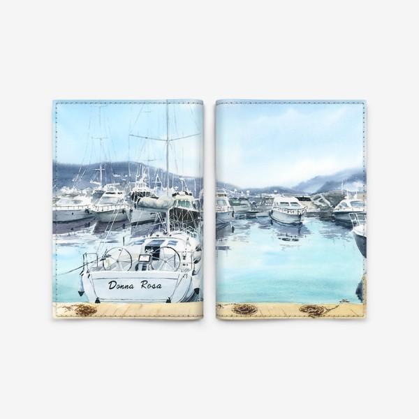 Обложка для паспорта «Пейзаж с яхтами в море. Черногория»