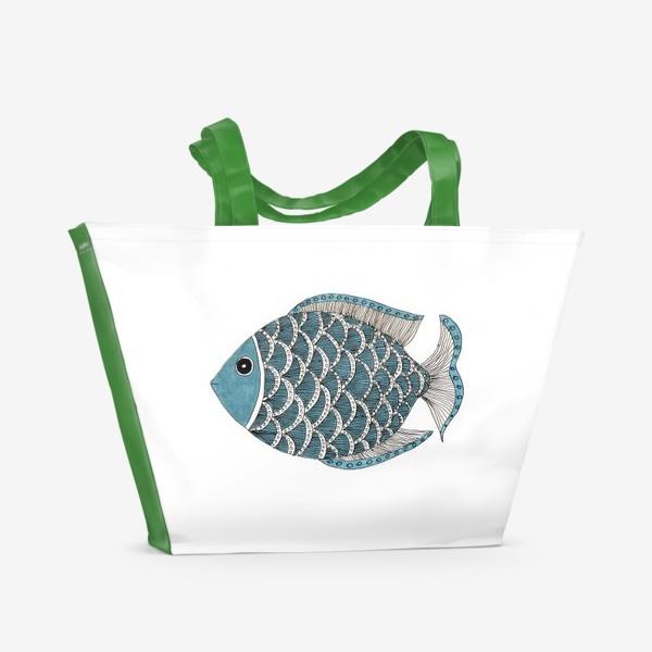 """Пляжная сумка «Графика """"рыба""""»"""