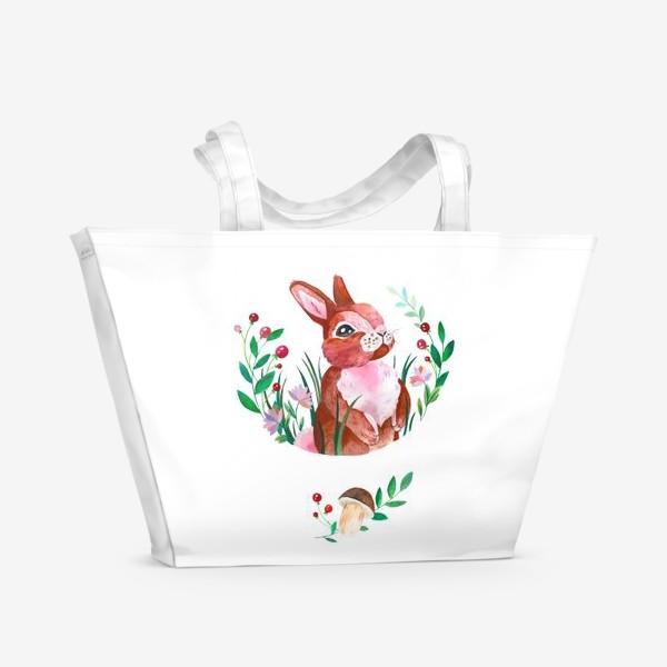 Пляжная сумка «Зайчик в траве»