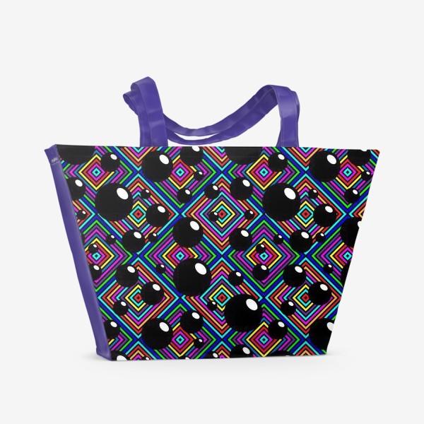 Пляжная сумка «Шары углы полоски ромбы.»