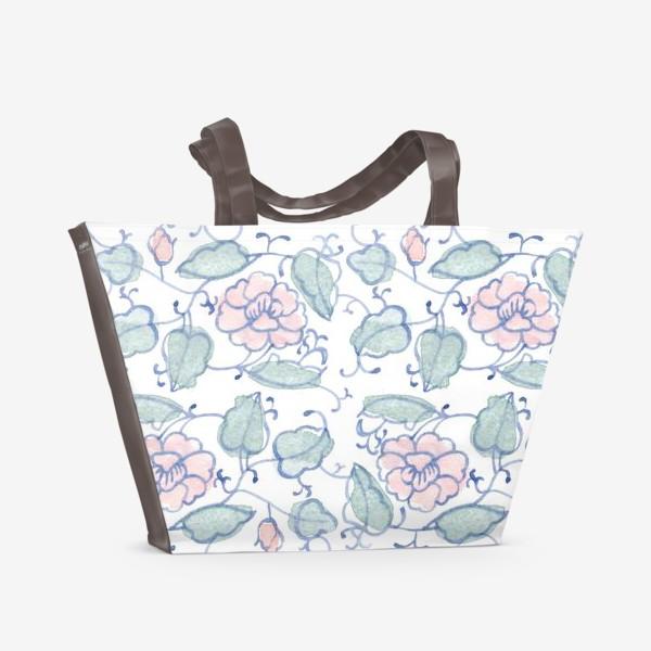 Пляжная сумка «Цветочный винтажный орнамент»