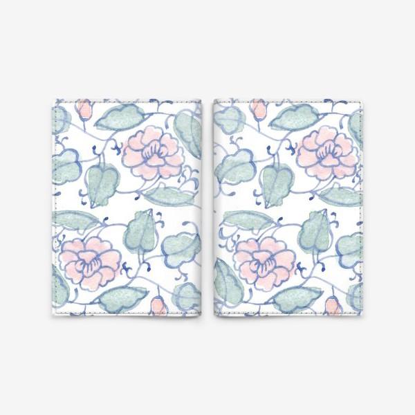 Обложка для паспорта «Цветочный винтажный орнамент»