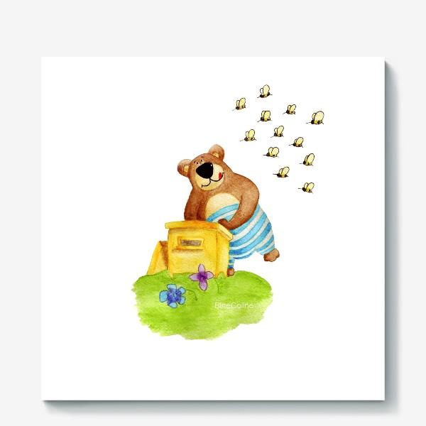 Холст «Медведь и мёд»