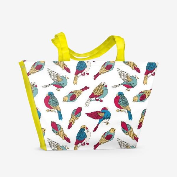 Пляжная сумка «Весенние воробьи»