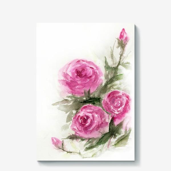 Холст «Роза акварель»