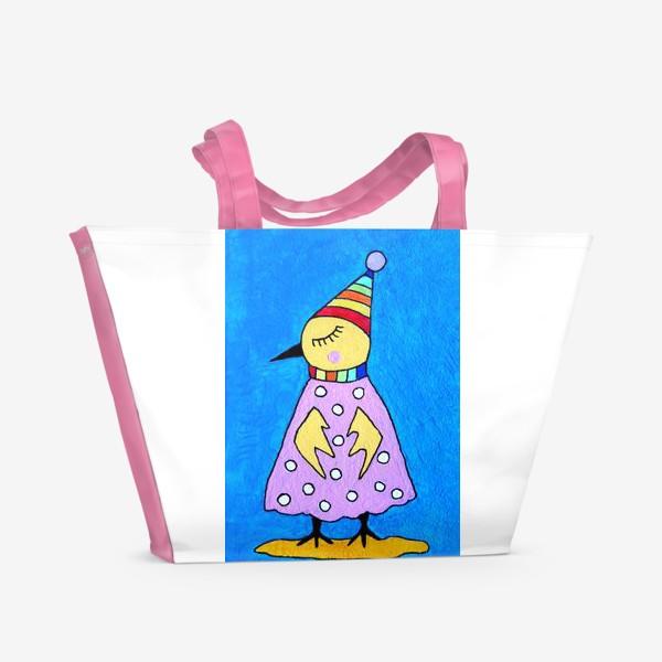 Пляжная сумка «Птичка в шапочке»