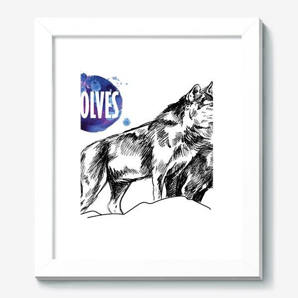 Картина «два волка на скале»