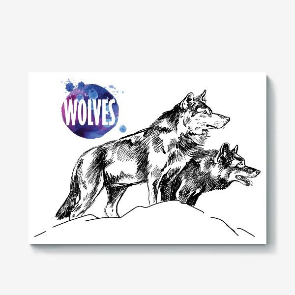 Холст «два волка на скале»