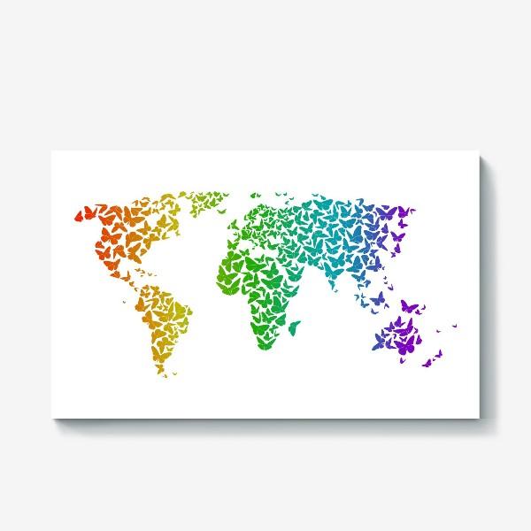 Холст «Карта мира бабочек»