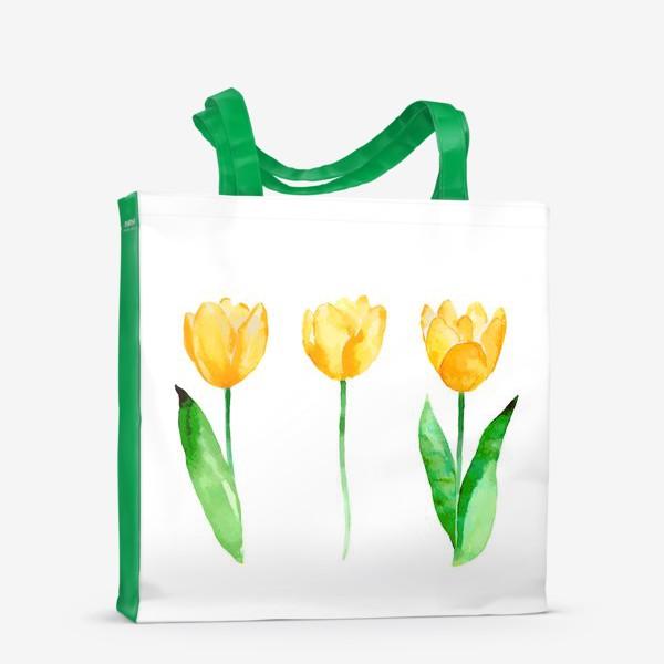 Сумка-шоппер «Желтые тюльпаны. Акварель.»