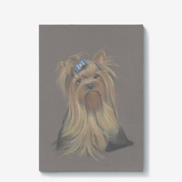 Холст «Йоркширский терьер с голубым бантиком и грустным взглядом.»