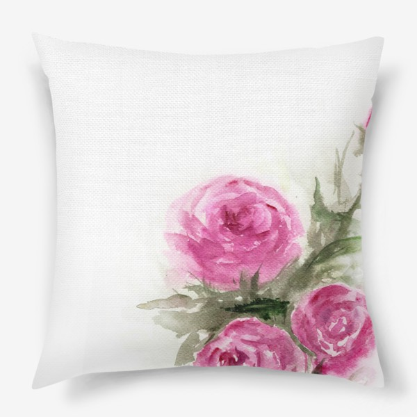 Подушка «Роза акварель»
