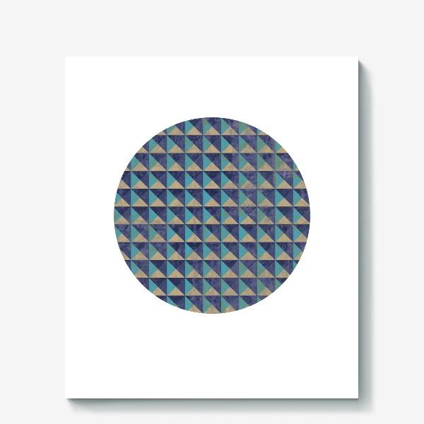 Холст «Квадрат в круге холодная геометрия»