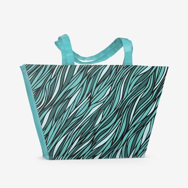 Пляжная сумка «Циановый паттерн Волны Море»